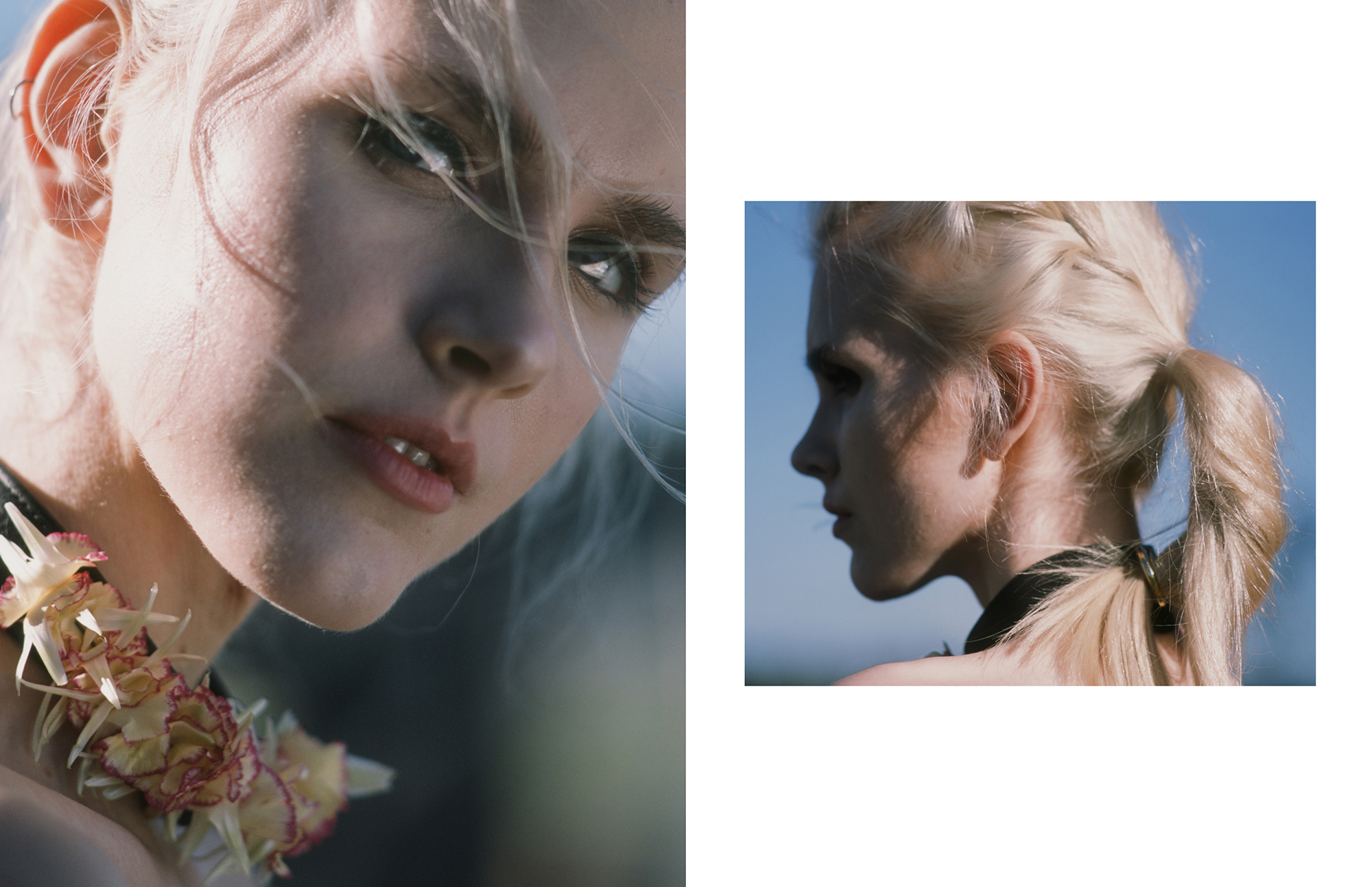 Gisele Pletzer wears The Model Traitor by Sian Hoffman collar styled with live flowers IN ABSENTIA by Aaron VIII