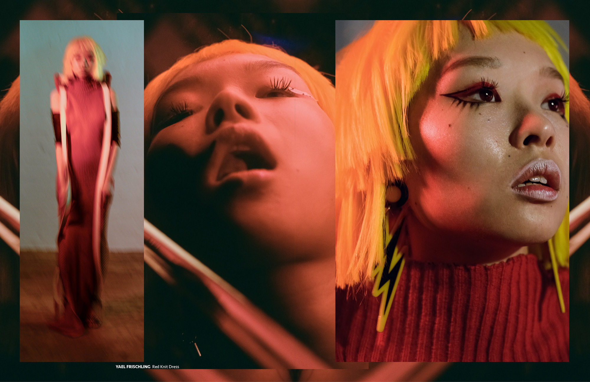 Cindy Wang wears Yael Frischling in GRAPHIC CONTENT Asian grunge aesthetic fashion editorial