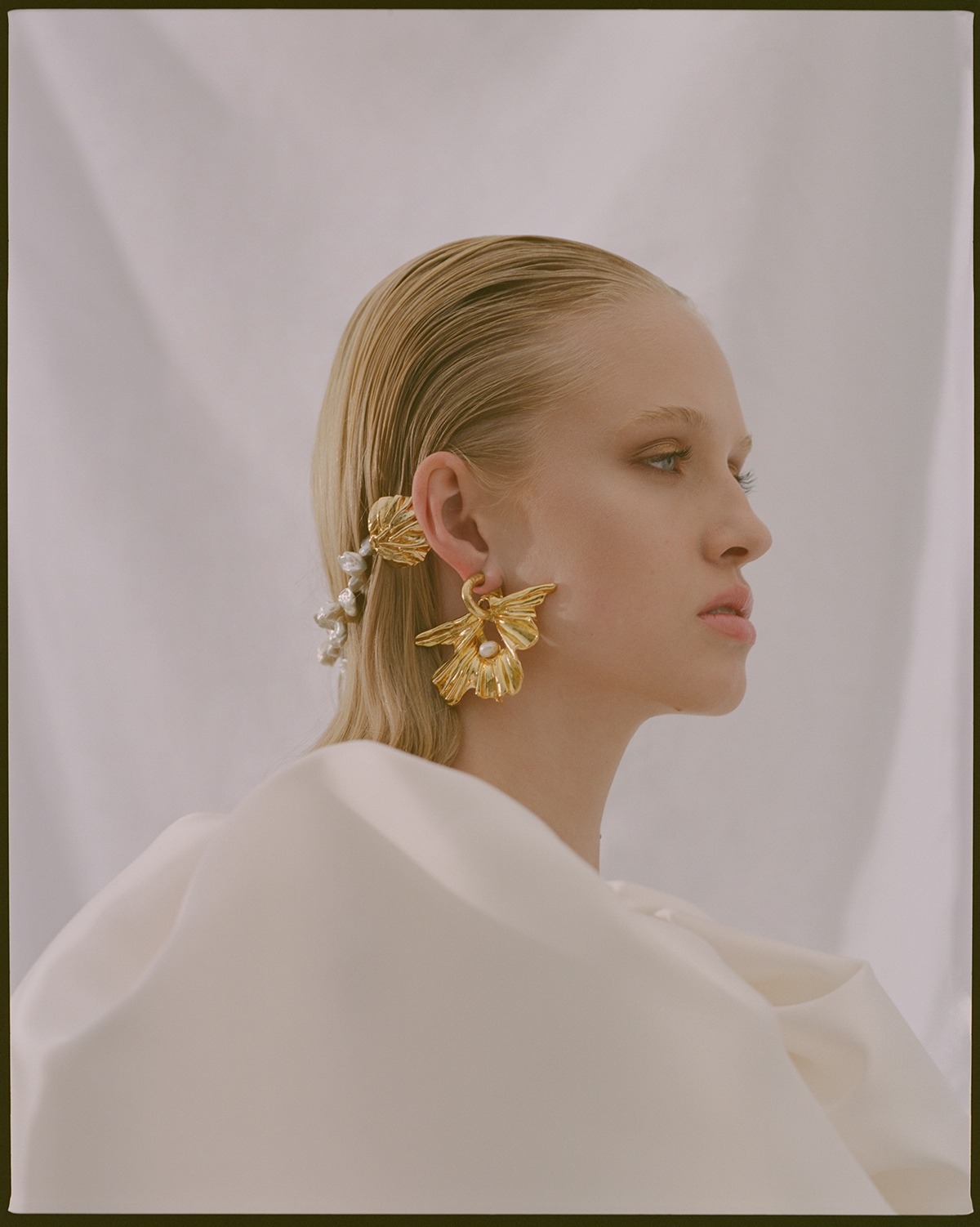 Niamh Dwyer wears Mariam Seddiq and Balyck Jewellery in ROMANTIQUES for Base Cast shot on medium format film by Aaron VIII