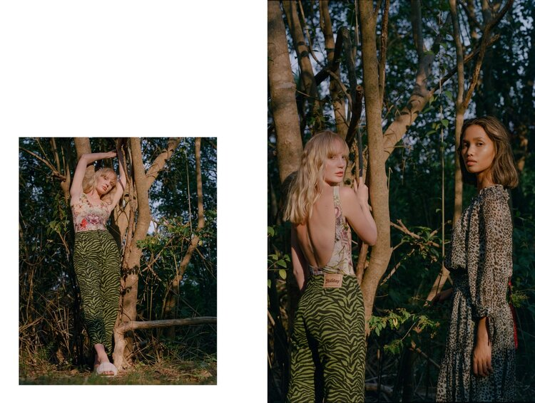 Zhon wears Jean Paul Gaultier one piece and Holiday The Label by Emma Mulholland Jeans. Khai wears Rebecca Taylor NYC dress. Shot on film by Aaron VIII