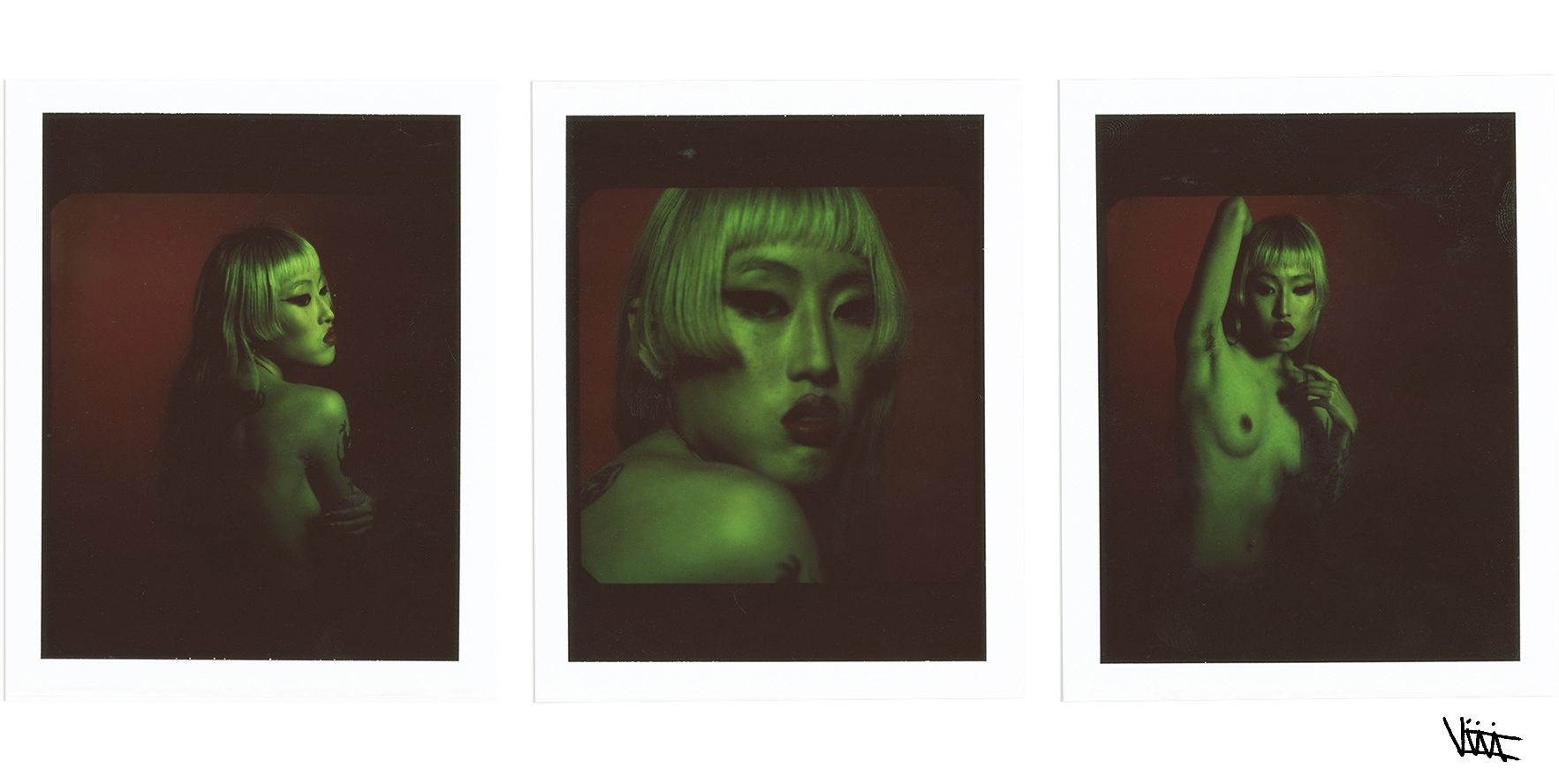 Artist Kim Hyunji shot on medium format polaroids by Aaron VIII for Astrophe