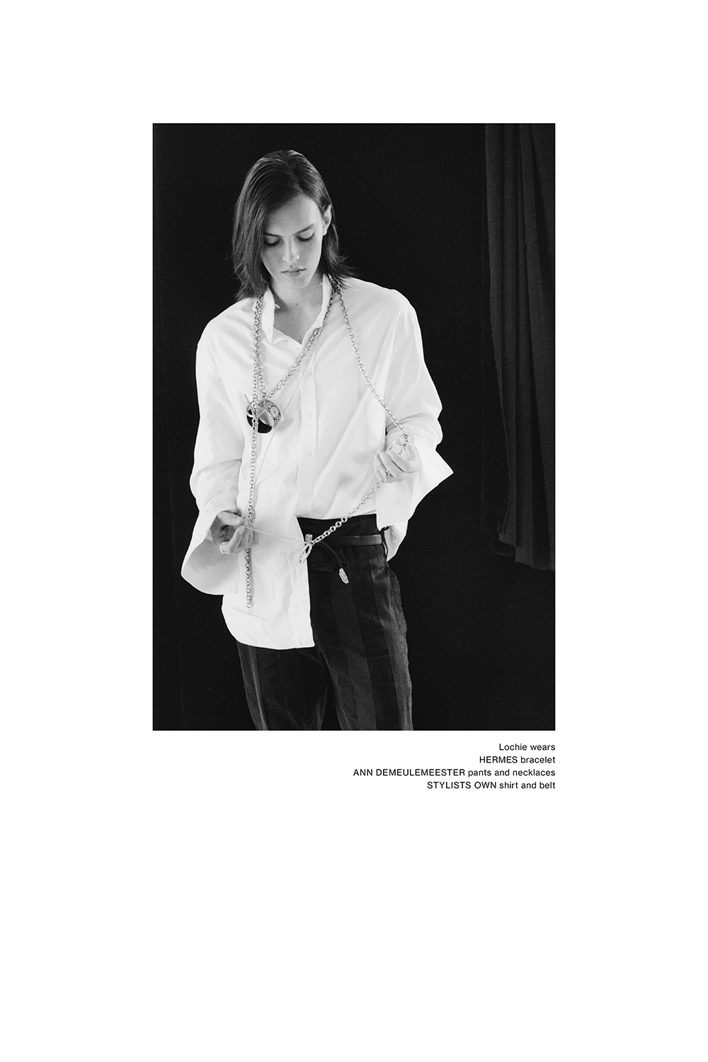 Lochie Mitchell wearing Ann Demeulemeester and Hermes for Astrophe Homme fashion editorial by Aaron VIII