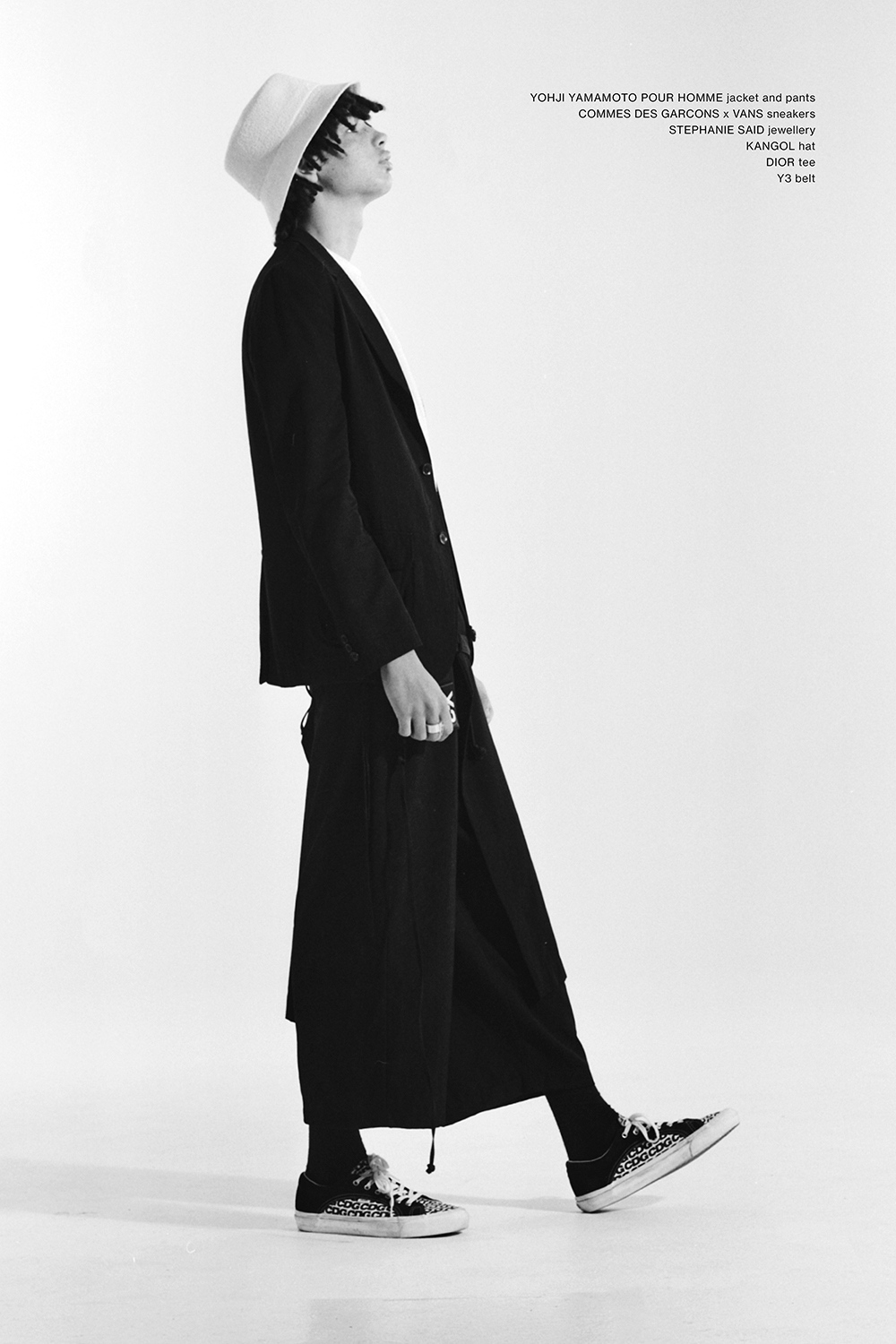 Akira Darlington wearing Yohji Yamamoto, Comme Des Garcons, Dior, Stephanie Said and Kangol for Astrophe Homme fashion editorial by Aaron VIII