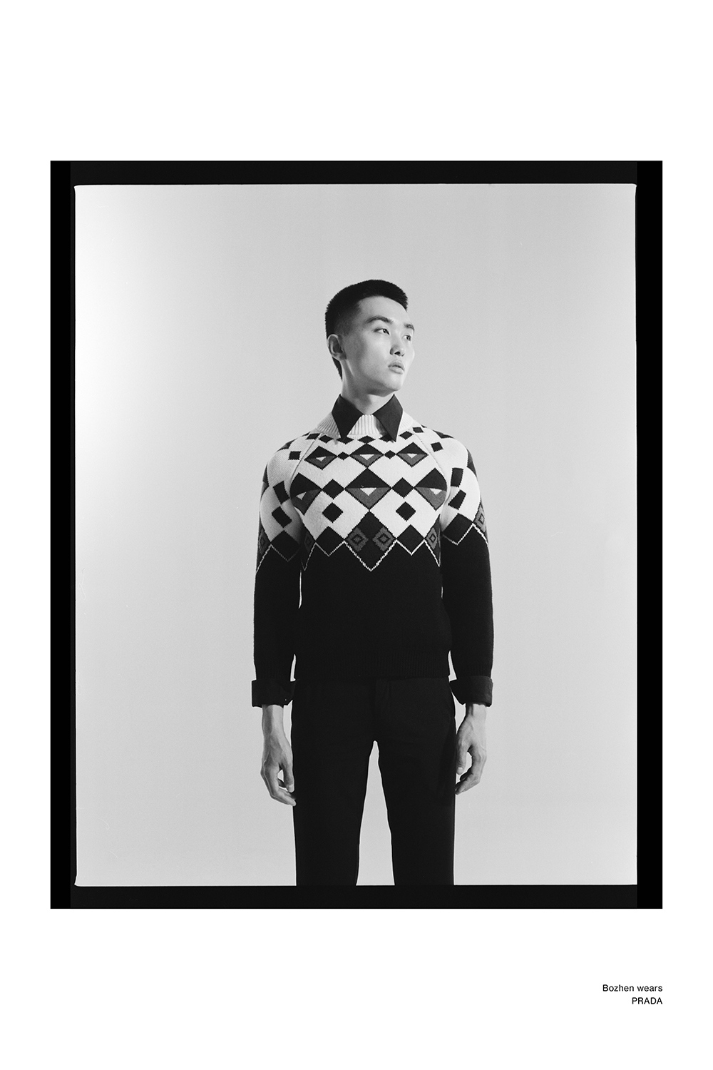 Bozhen wearing Prada for Astrophe Homme fashion editorial by Aaron VIII