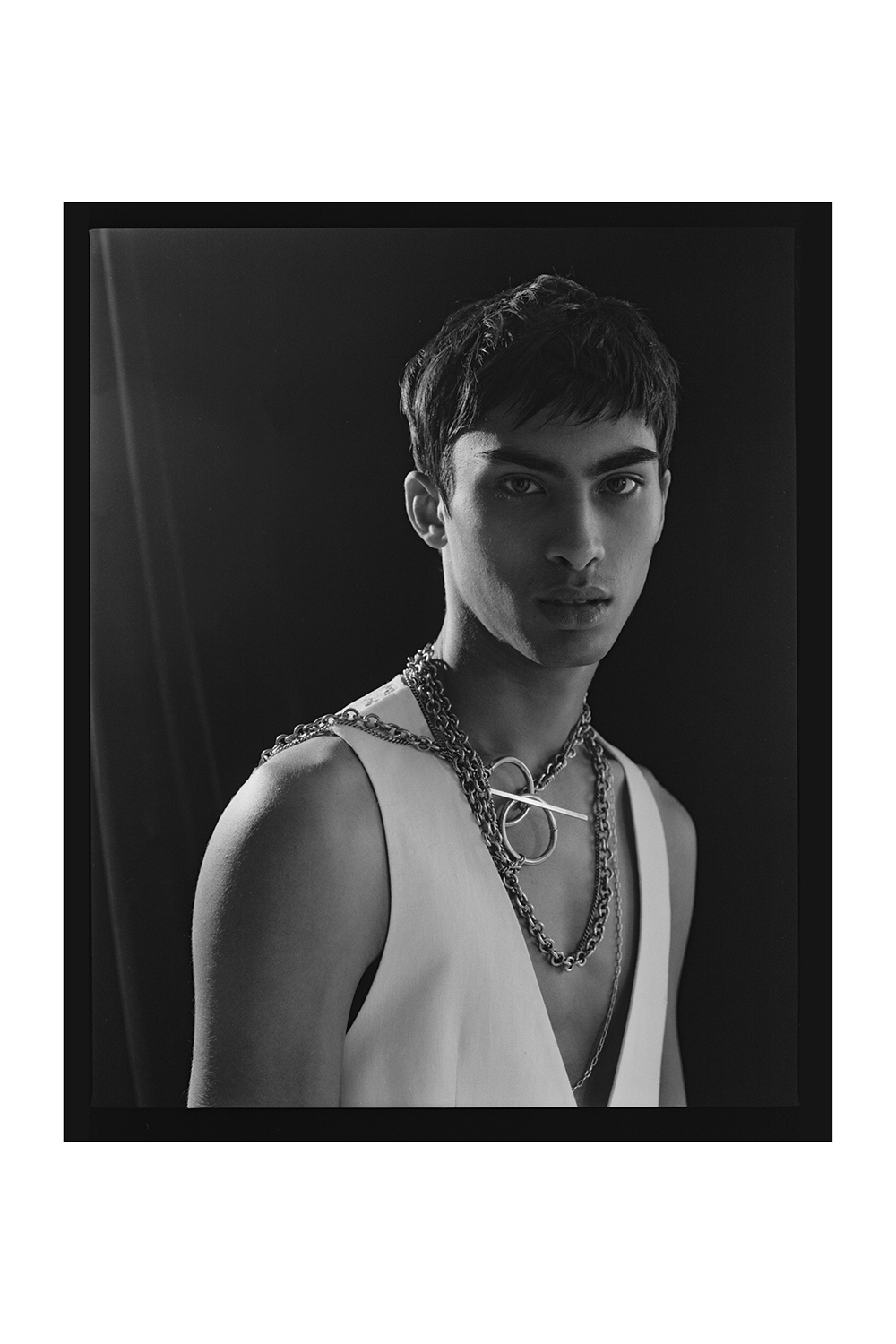 Tissa Fernandez wearing Ann Demeulemeester jewellery and Reckless & Vain for Astrophe Homme fashion editorial by Aaron VIII