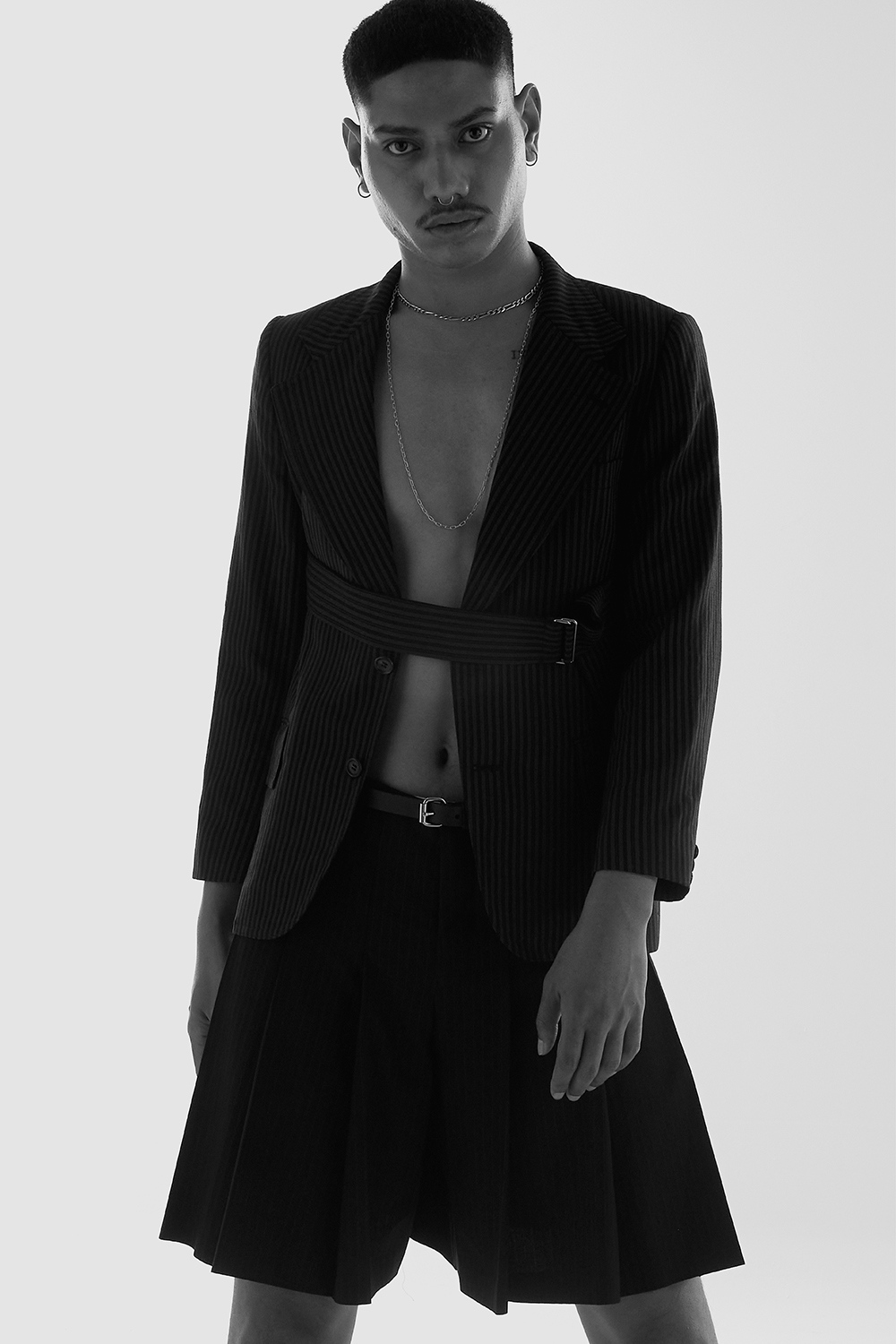 Sione Tuitavake wearing Comme Des Garcons for Astrophe Homme fashion editorial by Aaron VIII